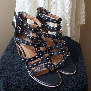 Dolce Vita black studded caged heels euc